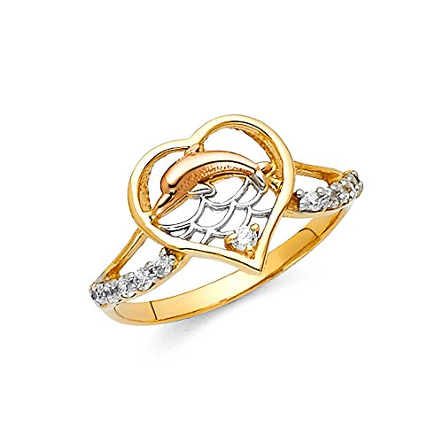 (Paradise Jewelers Tri-color 14K Solid Yellow Gold Round Cut Cubic Zirconia Dolphin on Waves Ring, Size 9)