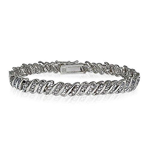 Glitzs Jewels Silver Tone Brass Simulated Diamond Accent Wave Tennis Bracelet