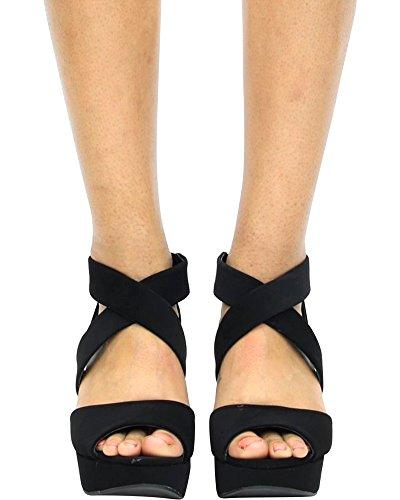 Bambou Femmes Une Bande / Sandales À Talons Compensés De La Plate-forme / Sandales Compensées Black_34s
