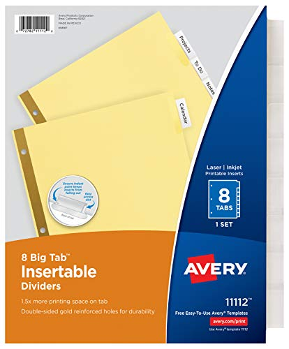 Avery 8-Tab Binder Dividers, Insertable Clear Big Tabs, 1 Set (11112)