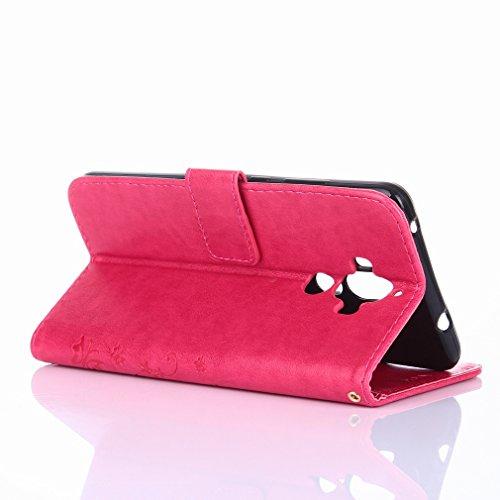 Yiizy Huawei Mate 9 Custodia Cover, Erba Fiore Design Sottile Flip Portafoglio PU Pelle Cuoio Copertura Shell Case Slot Schede Cavalletto Stile Libro Bumper Protettivo Borsa (Red Rose)