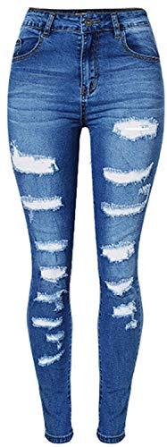 Femmes Pantalon Blau Jean Chic Denim Coton Pour 4 Taille Élastique En Jeans Extensible FwxqfAZw
