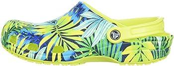 Crocs Unisex Classic Printed Clog Mule, Tennis Ball Greencerulean Blue, 6 Us Men8 Us Women 4