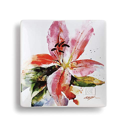 DEMDACO Dean Crouser Stargazer Lily Watercolor Pink 7 x 7 Ceramic Stoneware Decorative Snack Plate
