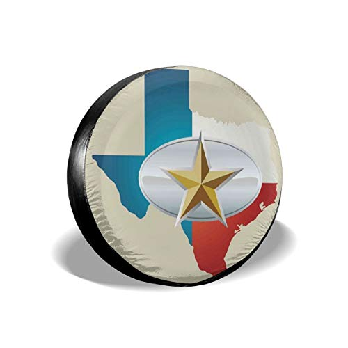 GULTMEE Tire Cover Tire Cover Wheel Covers,Cowboy Belt Buckle Star Design with Texas Map Southwestern Parts of America,for SUV Truck Camper Travel Trailer Accessories(14,15,16,17 Inch) 16