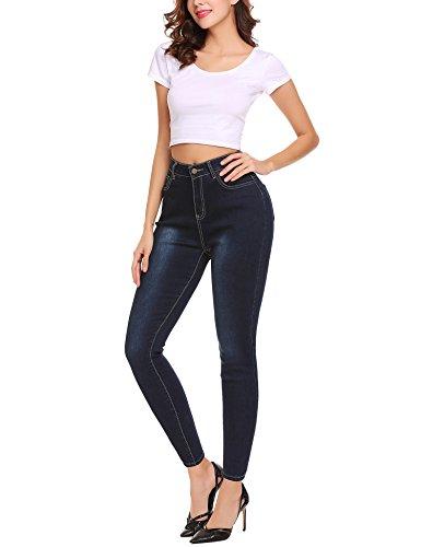 Pantalons avec Collant Femme Casual Crayon Leggings Jean Pants Lomon Profond lastiques Bleu Skinny Denim Slim CqzdqAw