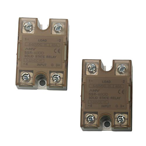 TinaWood 2 PCS SSR-40DD 3-32VDC To 5-60VDC Solid State Relay (DC To DC 40A)