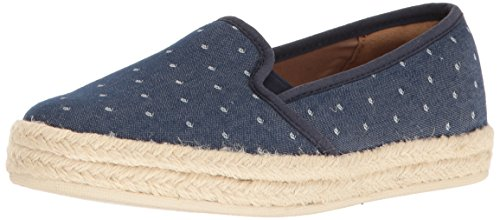 CLARKS Women's Azella Theoni Slip-on Loafer, Denim Dot, 9 M US (Womens Canvas Espadrilles)