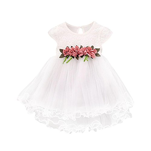 Princess Blossoms - GBSELL Toddler Kids Baby Girl Flower Blossom Princess Party Wedding Tulle Lace Dresses (White, 6-12 Month)