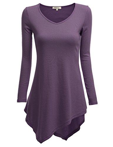 Doublju Women Elegant Crew Neck 3/4 Sleeve Plus Size Tee DEEPPURPLE,XL