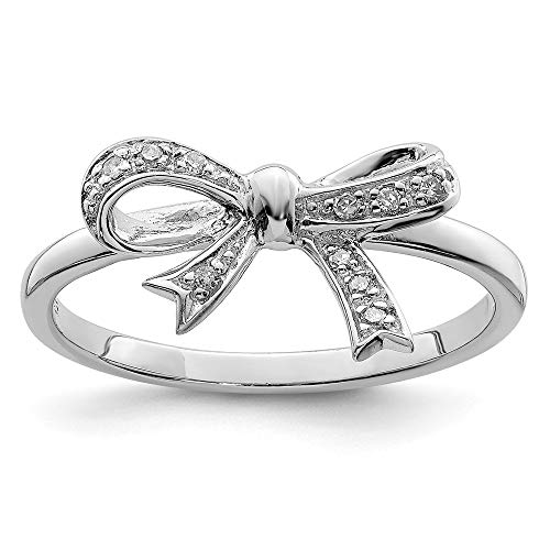 - 925 Sterling Silver Diamond Bow Band Ring Size 7.00 Fine Jewelry Gifts For Women For Her