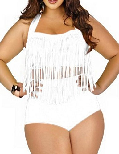 (Uniarmoire Womens Plus Size High Waist Fringe Swimwear Two Piece Swimsuit White)
