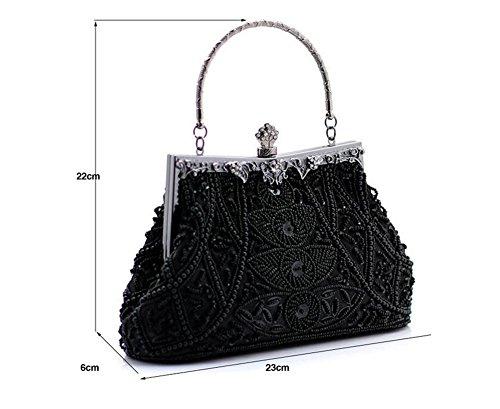 Whoinshop, borsa da donna con motivo di foglie con perline, borsetta nozze, sera Nero (nero)