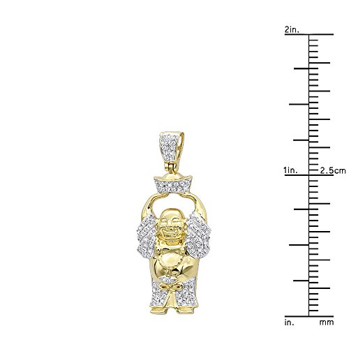Mens 10K Real Gold Mini Laughing Buddha Diamond Pendant 0.3ctw (Yellow Gold) by JNSLuxury (Image #2)