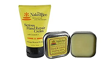 2-Pc Serious Hand Repair Kit By The Naked Bee – Serious Hand Repair Cream Lotion plus Hand Cuticle Repairing Salve