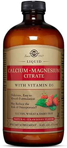 Solgar Liquid Calcium Magnesium Citrate with Vitamin D3, Natural Strawberry, 16 Ounce