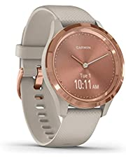 Garmin Vivomove 3S Hybrid Smartwatch with Real Watch Hands and Hidden Touchscreen Display, Light Sand Silicone with Rose Gold Hardware
