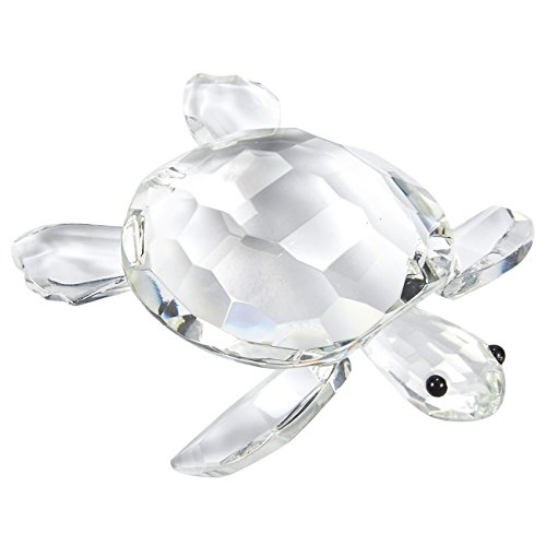 Juvale Turtle Figurine - Glass Turtle for Decoration, Clear Glass Figurines, Feng Shui Crystals, 5.1 x 4.1 x 1.7 Inches