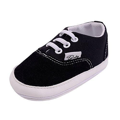 Meijunter Baby Schuhe Junge Mädchen Segeltuch Kleinkind Anti-Rutsch Erstes Gehen Krippe Schuh 0-24 Monate 12 Farbe Schwarz