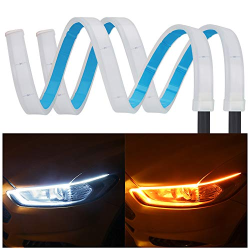 (2Pcs 24 Inches Dual Color White/Sequence Amber LED Strip Light, YANF Waterproof Car Flexible Daytime Running Light Strip DRL Switchback Headlight and Turn Signal Light Tube - Easy Paste Install)