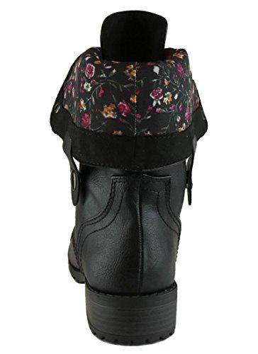 Cambridge Select - Botas Plegables Con Cordones Para Mujer, Con Cordones, Tacones Gruesos, Combo, Bota Negra, Pu / Flor