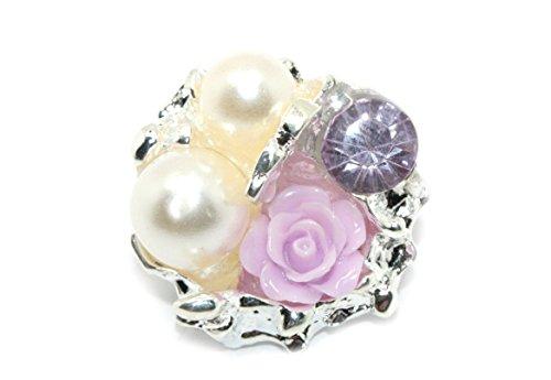JLIKA Vintage Rose Rhinestone Embellishments (10 Pieces) Flatback No Shank Rhinestone Buttons (Lavender)