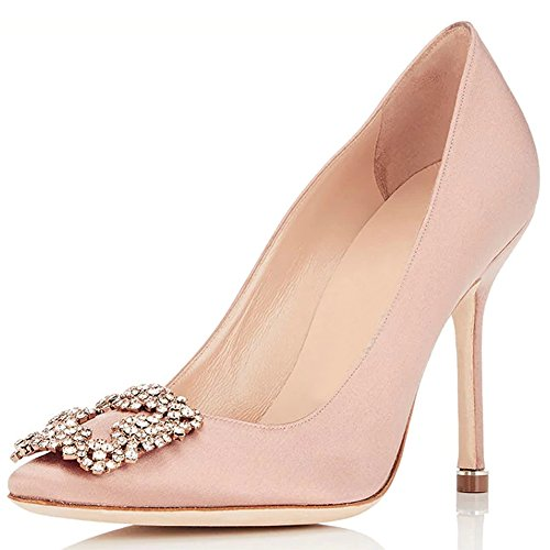 Comode Décolleté Per Donna, Abbellimenti In Raso Gioiello Donna Scarpe Col Tacco Alto Scarpe A Punta Slip On Strass Dress Party Pumps Pink