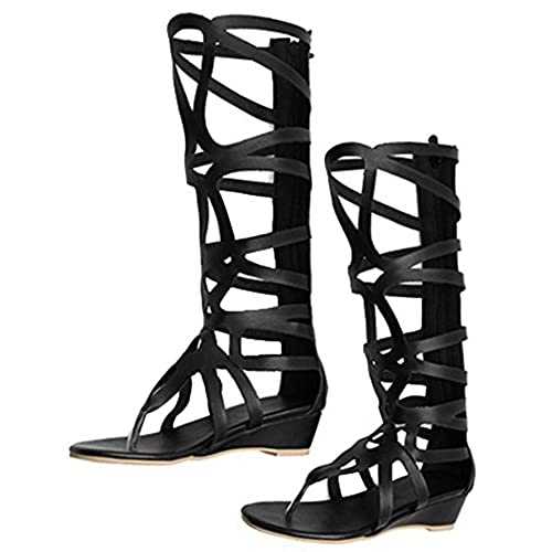 e118fa3f7dc durable modeling IDIFU Women s Sexy Cut Out Strappy Thong Low Wedge Heel  Knee High Gladiator Sandals