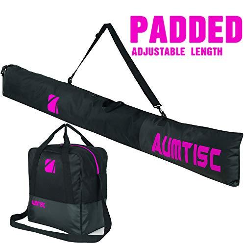AUMTISC Ski Bag Padded 2 Piece Ski and Boot Bag Combo for 1 Pair of Ski Boots Adjustable Length Ski Bag Up to 200cm (Rose)