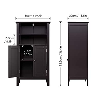 HOMFA Bathroom Floor Cabinet, Free Standing Side Cabinet Storage Organizer with Double Doors and Shelves for Homes and Gardens Office Furniture
