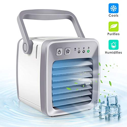 - Dr.fasting Air Cooler, Mini Portable Air Conditioner Fan Noiseless Evaporative Air Humidifier, Personal Space Air Conditioner, Mini Cooler,3 Gear Speed, Office Cooler Humidifier & Purifier