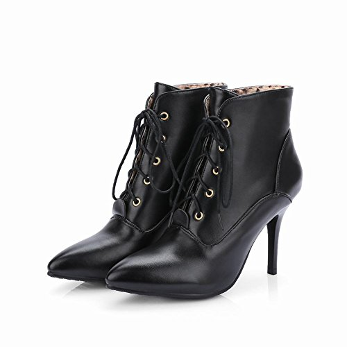 Carolbar Womens Pointed Toe Sexy Lace Up Spring & Fall Fashion High Stiletto Heel Short Dress Boots Black OOD7UQ9Xpb