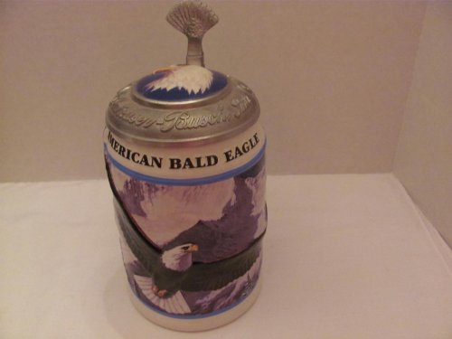 """Vintage BUDWEISER - AMERICAN BALD EAGLE WINTER STEIN (1999) - CS293 - 1ST EDITION in the American Bald Eagle Stein Series (#15693 / 50000) / (approx. 7 1/4"""" Tall) - by CERAMARTE (Made in Brazil) / (Anheuser-Busch) / (Illustrated by Artist - BUD KEMPER) / (Includes COA / Original Box)"""