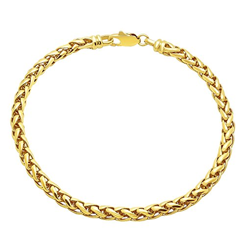 Yellow Gold Wheat Bracelets (5mm 14k Yellow Gold Plated Braided Wheat Link Rounded Chain Bracelet,)