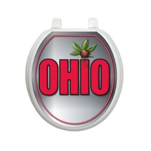 free shipping Ohio Toilet Tattoo TT-OH06-R Round Theme Cover Bathroom