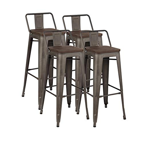 "chairus 30"" Industrial Metal Bar Stools Set, Indoor-Outdoor Barstool Chair with Low Back, Set of 4, Dark Walnut"
