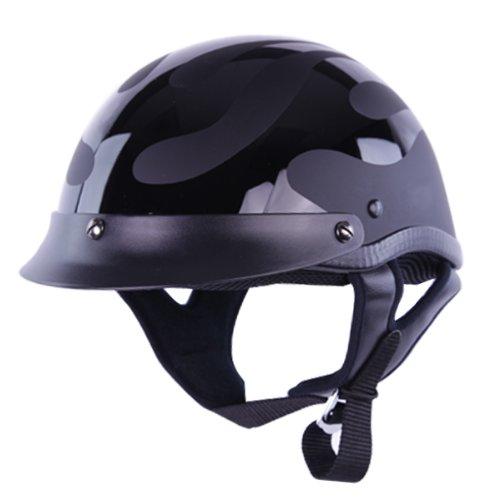 Hci Half Helmet (Half Helmets - HCI-100 Flat Flames Smallest DOT Half Helmet M)