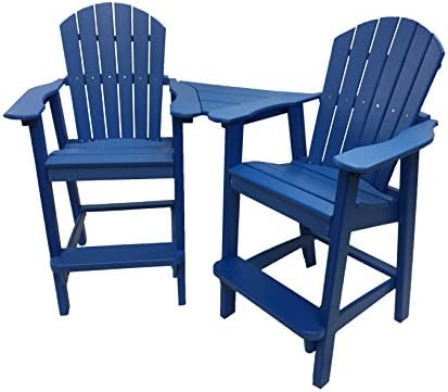 Phat Tommy Recycled Poly Resin Balcony Chair Settee Durable and Eco-Friendly Adirondack Armchair and Removable Side Table. This Patio Furniture is Great for Your Lawn, Garden, Swimming Pool, Deck.