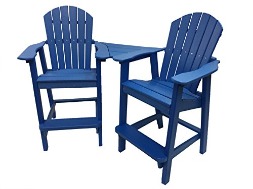 Blue End Table Adirondack (Phat Tommy Recycled Poly Resin Balcony Chair Settee – Durable and Adirondack Patio Furniture, Blue)