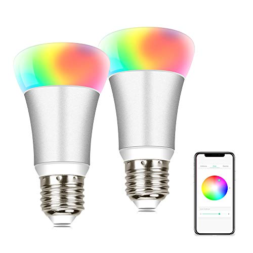 Smart LED Light Bulb – Bluetooth Light Bulb Wake up Smart Light Dimmable LED Light 16 Million Color Change 2 Pack E27 Night Light Timer On or Off Sync Music DIY Scene Mode No Hub Required