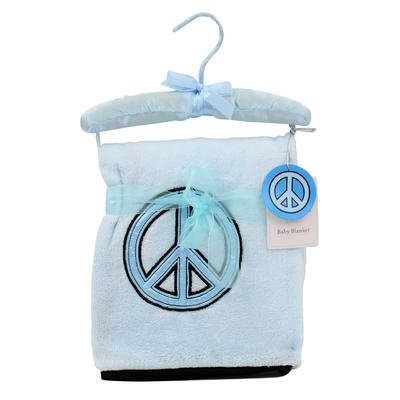 Wholesale Blue Blanket with Peace Sin on Hanger