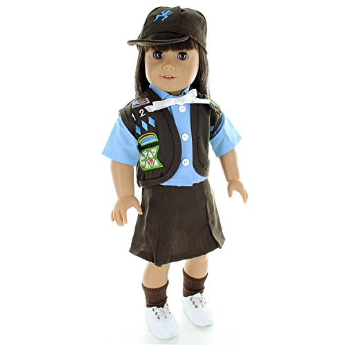 Pink Butterfly Closet Doll Clothes - Brownies Scout Uniform Outfit Fits American Girl Doll, My Life Doll and Other 18 inch Dolls -