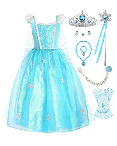 affordable ReliBeauty Girls Princess Costume Organdie Snowflake Dress up, Puff Sleeve(with Accessories), 4/110