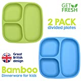 GET FRESH Bamboo Kids Divided Plates Set – 2-Pack Reusable Sectioned Bamboo Childrens Plates for Kids Meals – BPA free Bamboo Toddler Divided Plates Set – Bamboo Kids Dinnerware Compartment Plates