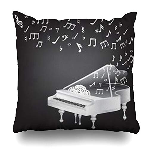 ArtsDecor Throw Pillow Covers Floor Abstract Music Vintage White Grand Piano Key Notes Aristocrat Aristocratic Artistic Black Home Decor Cushion Square Size 16