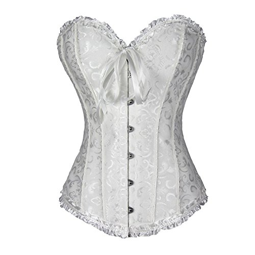 TRAINER SECRET Women's Overbust Corset Bustier White Lace Up Boned Sexy Bodyshaper with G-String Set