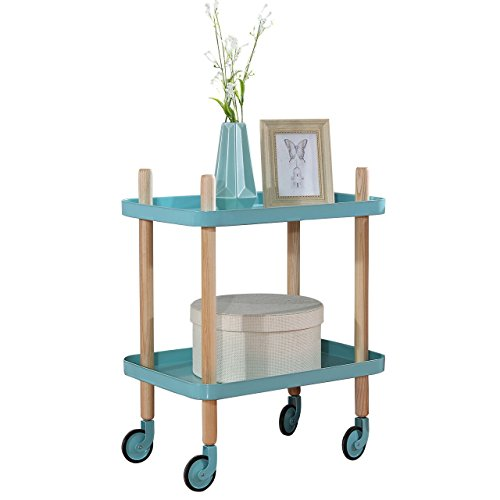 Sofa Side Table with Wheels, Metal Tray End Table Living Room Bedroom, 2-Tier Nightstand Utility Rolling Cart, Turquoise (We Rolling Cart Go)