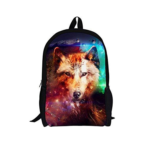 89cb31d9de9e UNICEU Colorful Wolf Printed Backpack for Teen Boys Children School Bag  with Bottle Pocket