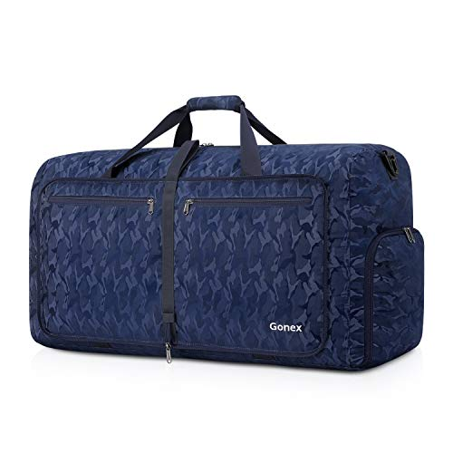 Gonex Foldable Travel Duffel 60L, Packable Luggage Duffle Bag Lightweight Water Repellent & Wear Resistant Black and Blue Camouflage