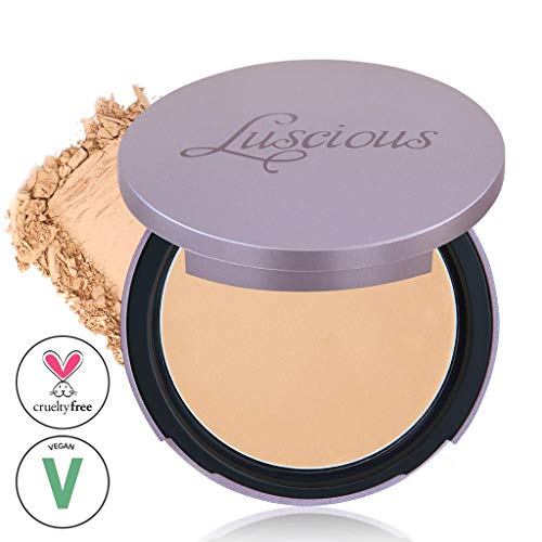 Luscious Cosmetics Velvet Matte Oil Control Pressed Powder Foundation| Vegan and Cruelty Free | Multi-use Foundation & Setting Powder (#3 Medium Tan Beige w/Warm Undertones 0.35oz)